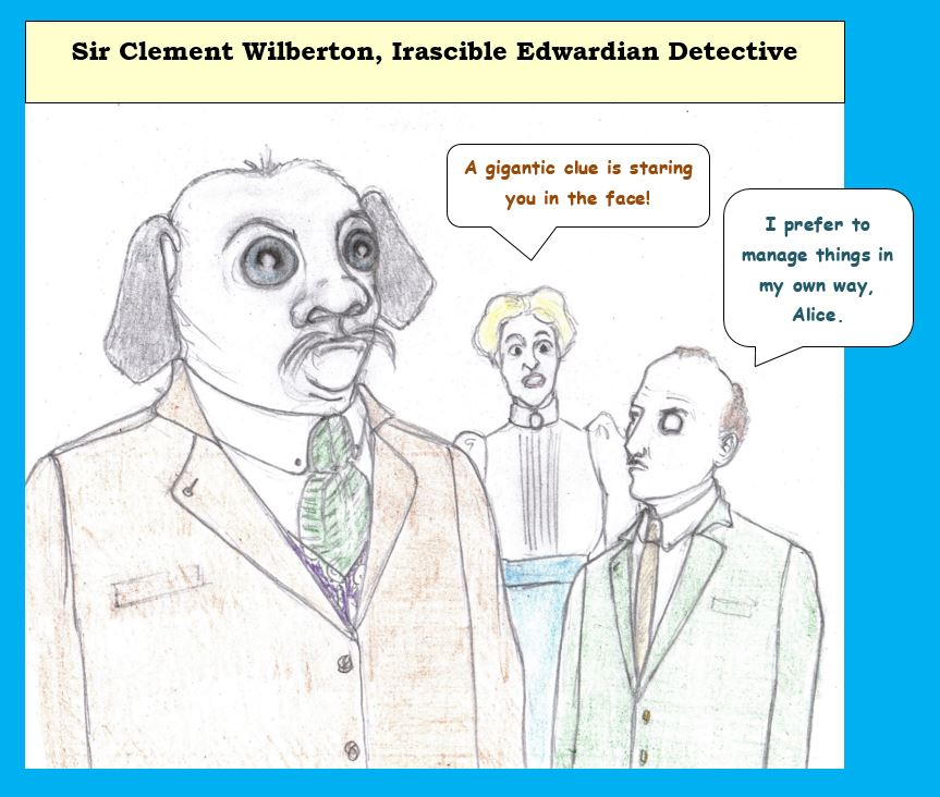 Cartoon of strange figure with detective and assistant