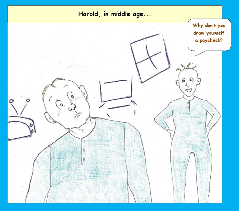 Cartoon of Harold of the purple crayon at home