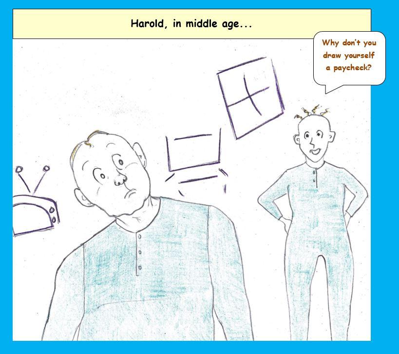 Cartoon of Harold of the purple crayon at home