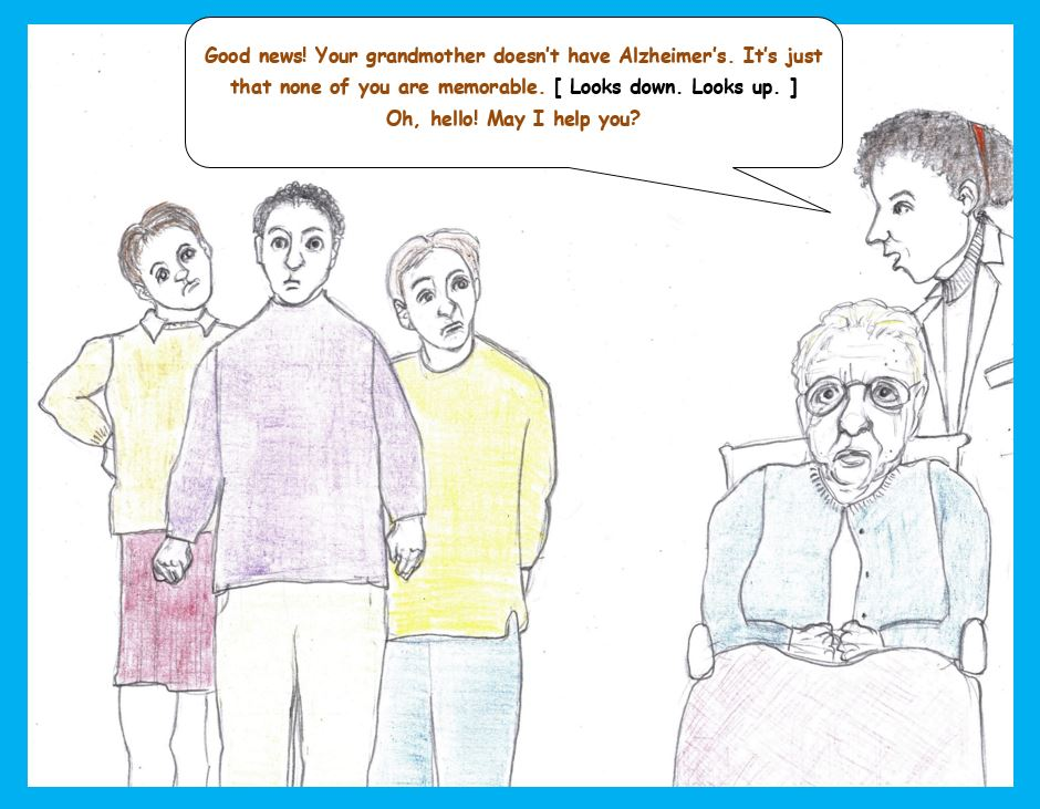 Cartoon of family visiting grandmother at clinic