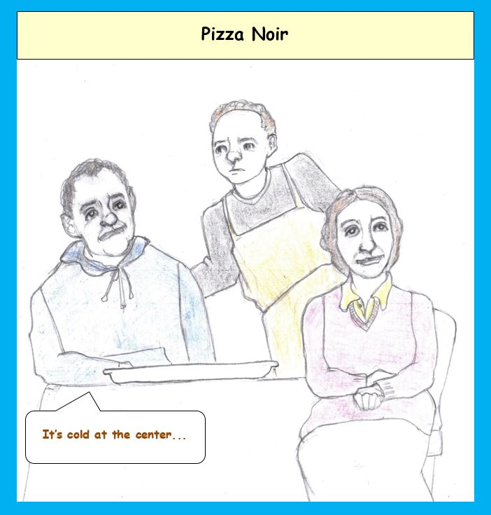 Cartoon of gloomy people in pizza parlor