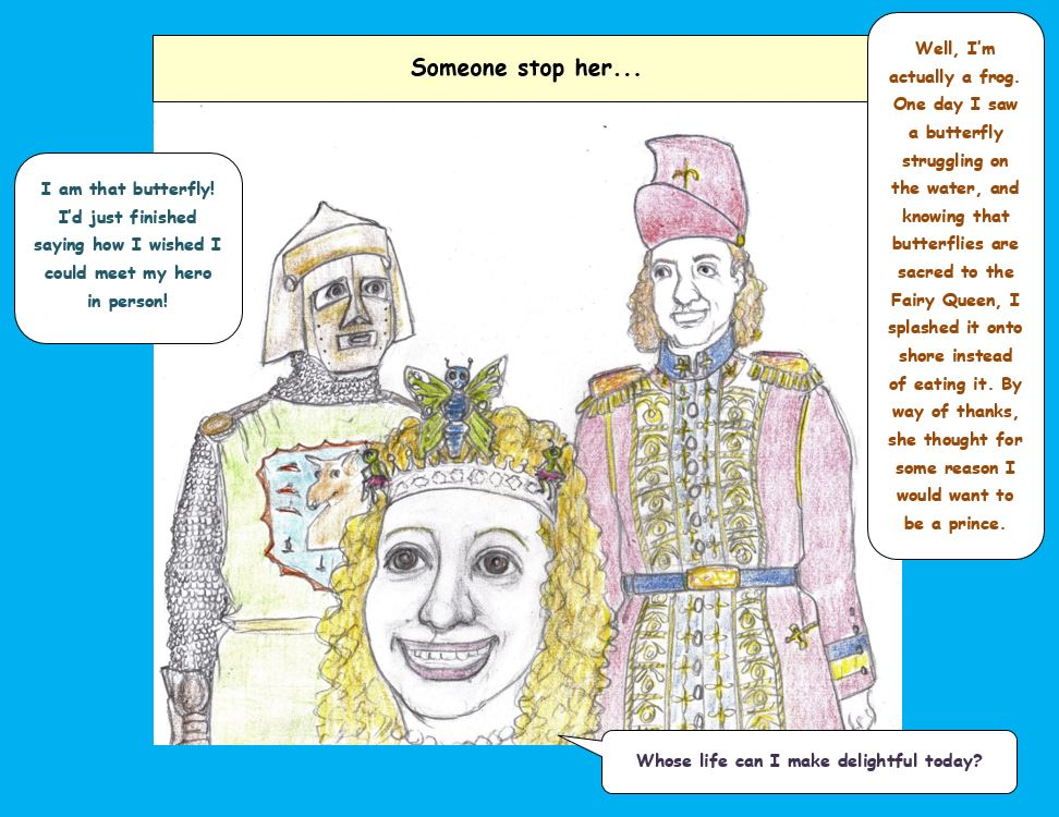 Cartoon of fairy queen with prince and knight