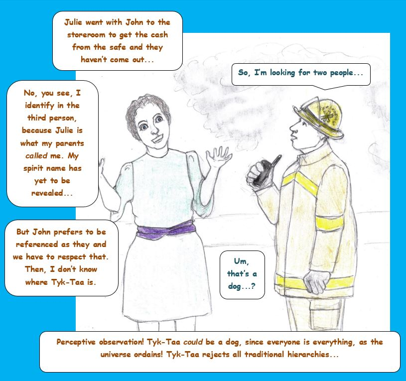Cartoon of woman talking to firefighter