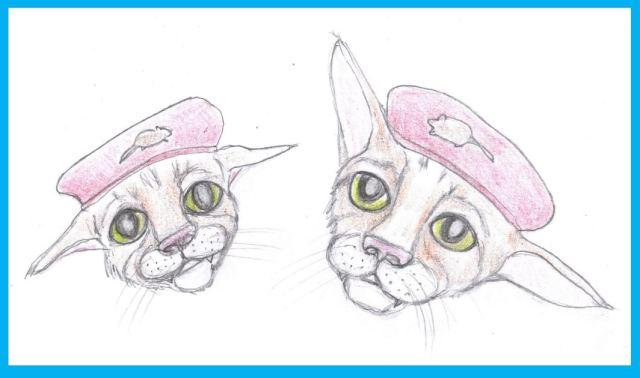 Cartoon of two kittens wearing berets