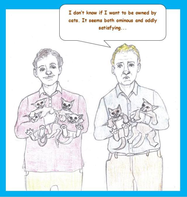 Cartoon of two men holding kittens