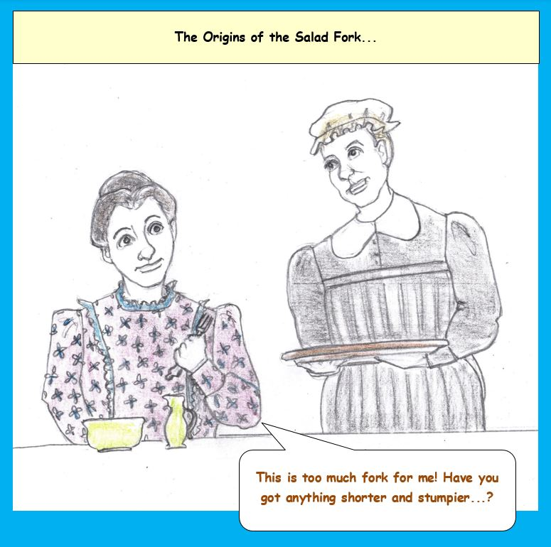 Cartoon of woman eating and servant