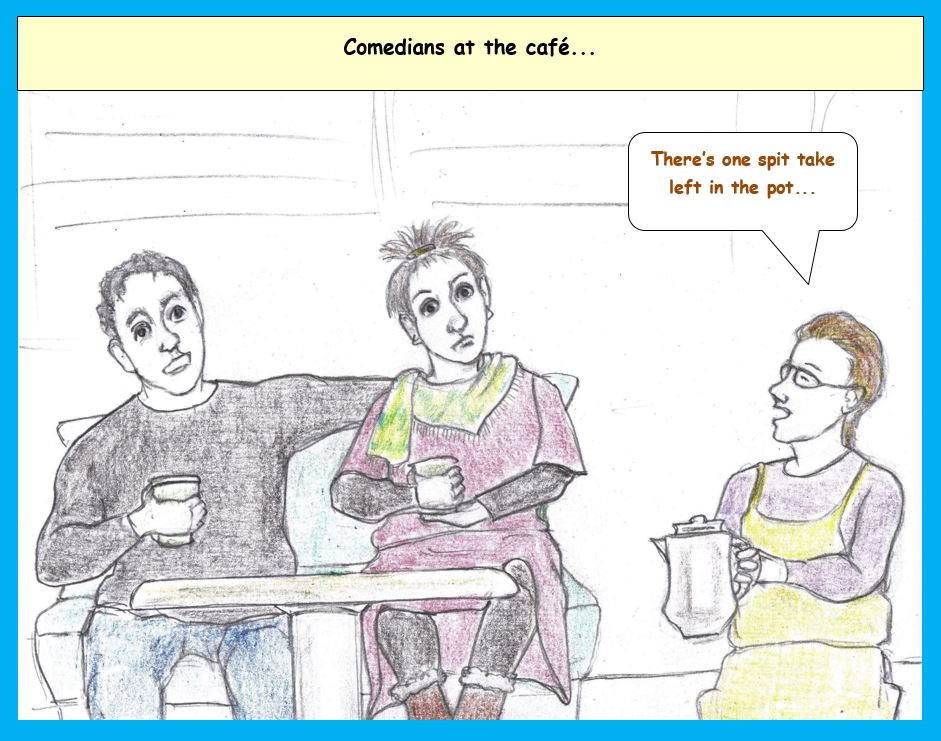 Cartoon of people at a cafe